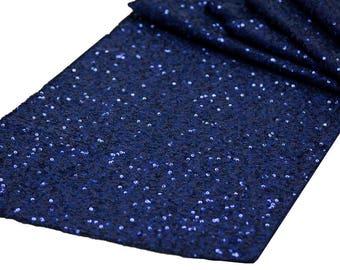 Navy Blue Sequin Table Runner Wedding Table Setting Sale Boho Cloth Sparkly Wholesale Sequin Sea Nautical Wedding Glitter Dark Blue Runner
