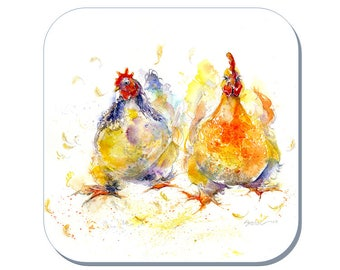Chicken Run - Chicken Coaster (Corked Back). From an original Sheila Gill Watercolour Painting