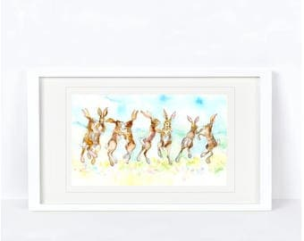 Dancing Hares Print. Printed from an Original Sheila Gill Watercolour. Fine Art, Giclee Print, Hand Painted,Home Decor