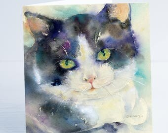 Day Dreaming - Cat Greeting Card - Taken from an original Sheila Gill Watercolour Painting.