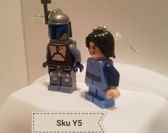 Sku Y5 - Lego Star Wars Jango Fett and Boba Fett earrings