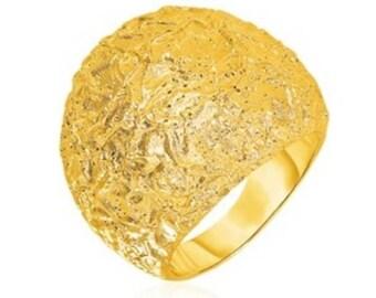 TUBE RING Oversized Silver Ring Gold Finishing Dome Ring Sterling Silver Hammered Ring Hammered Statement Ring Silver Hammered Ring .925