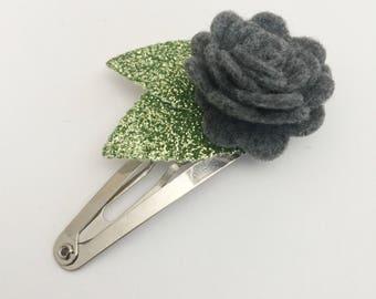 Grey Flower Snap Clip - Wool Felt - Snap Clips - 50mm Clips -