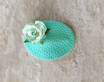 Teal Oval Floral Snap Clip - Chunky Glitter - Prima Flowers - Faux Leather - Snap Clips - 50mm Clips