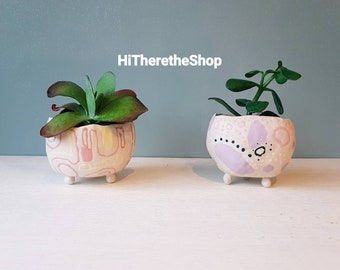 Handmade ceramic succulent pot, plant pot, planter, quirky design, hand painted, home studio pottery, home or office decor.