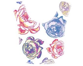 Beautiful Floral Baby Bib - Lovely Peony Flowers - Dribble Bib - Newborn Gift - Baby Shower Gift