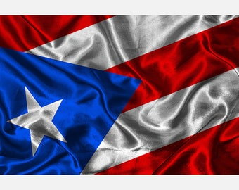 Puerto Rican Flag Print Poster or Canvas (P 2056)