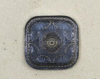 Blue Star Foil on Square Czech Glass Button-GL-836