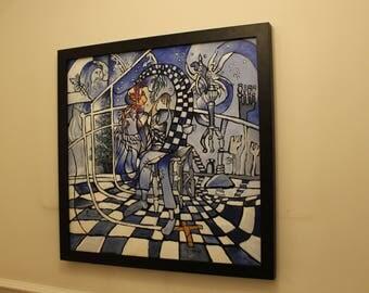 Abstract blue mosaic