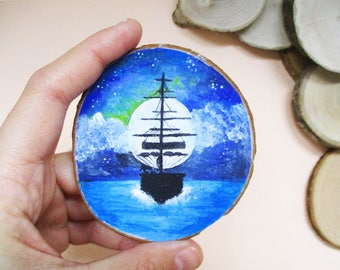 Boat Wood Magnet, Painted Magnet, Wooden Magnet, Hand Painted Magnet, Hand Painted Wooden Magnet, Nature Art, Wood Art