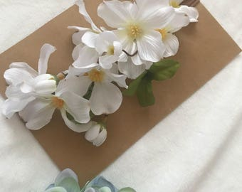 White Cherry Blossom Headband