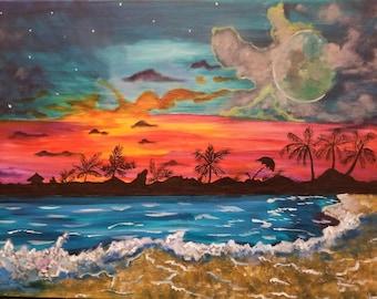 Beach painting on a 18 by 24 inch acrylic canvas, wall hanging, painting, sunset,beach, nature painting,wall decor