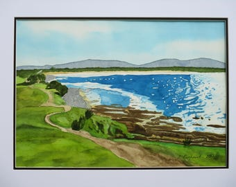 Crescent Head from Little Nobby in watercolour
