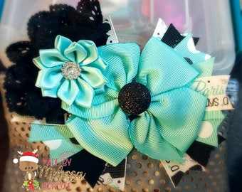 Pinwheel hair bow with spikes~Boutique hair bow~Pinwheel hair bow~Made to order girls bow~Paris hair bow~Audrey Hepburn hair bow