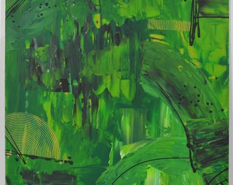 Contemporary painting green 40x40cm