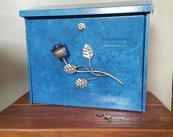 modern mailbox letterbox wall mounted turquoise handmade