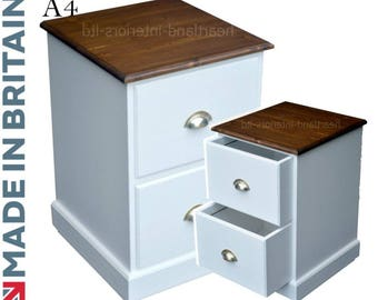 Solid Wood Filing Cabinet, Handcrafted & White Painted Contrasting 2 Drawer A4 Filing Unit. Made in Britain (FC-A3TP)