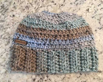 Pastel tweed messy bun beanie with bow