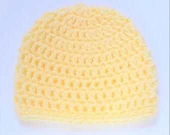 Soft yellow hat, 3-6 month baby hat, Crochet baby cap, Yellow crochet beanie, 3-6 month crochet baby hat, yellow crochet baby beanie