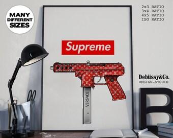 Supreme Uzi gun print, Supreme poster, supreme logo print, louis vuitton print, supreme LV, supreme gun print, supreme x
