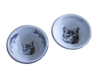 Pair of Enamel Cat Bowls Mexican Original Art Work Contemporary Design
