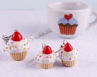 Strawberry cupcake earrings, food jewerly, fruit earrings, sweet jewelry, birthday gift for foodie, earrings for girls, rainbow sprinkles,