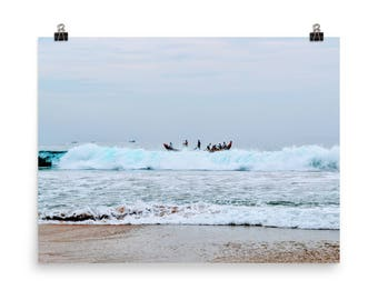 India Photography, Beach Print, India, Waves, Fishermen Photo, Indian Wall Art