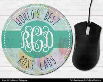Custom Mouse Pad, Monogram Mouse Pad, Watercolor Mousepad, Personalized, Round Mousepad, Personalized, Monogram Mousepad, Office Boss Gift