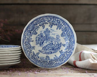 Set 8 French antique decorated dessert plates LUNEVILLE. Cake plates. Vintage blue plates. French vintage dish. French kitchen decor