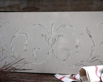 French antique wood panel 19th. Antique fronton. French furniture. French coat rack. French wood molding. Gustavian wall decor. French panel