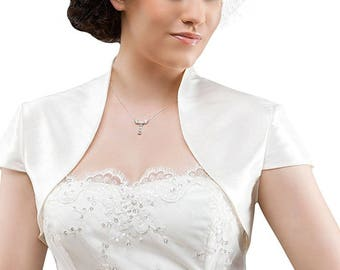 Bridal bolero jacket in satin, short sleeve