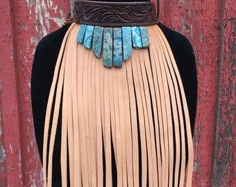 Fully Tooled Brown Leather Choker W/Turquiose Rocks and Buckskin Fringe