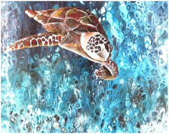Original Abstract Fluid Acrylic Painting, unique, embellished with semi realistic turtle diving