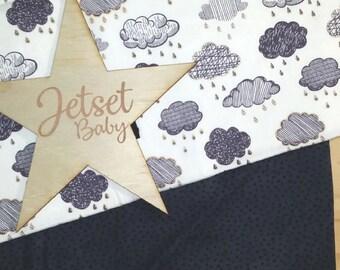 Grey Clouds Pram / Bassinet Blanket