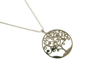 Tree of life necklace sterling silver 925/1000 silver long chain and pendant
