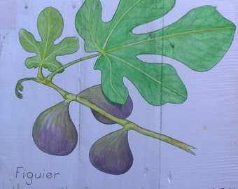 Fig tree watercolor painting on wood