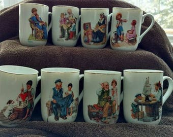 Norman Rockwell Mug Collection - Set of 8