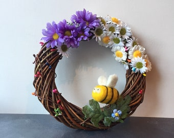 Easter / Springtime Door Wreath with Felted Bumble Bee & Flowers