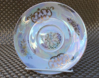 Vintage Lusterware Gold Leaf Floral Porcelain Saucer -1424