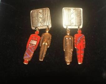 """Laurel Burch Vintage """"Art of Human Being"""" Tribal Earrings"""