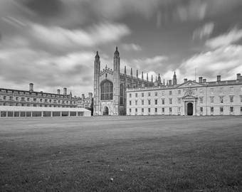 Black and white photograph of Kings College Cambridge