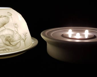 Hand Etched White Porcelain Tealight Candle Holder and LED Porcelain Base- Poppies