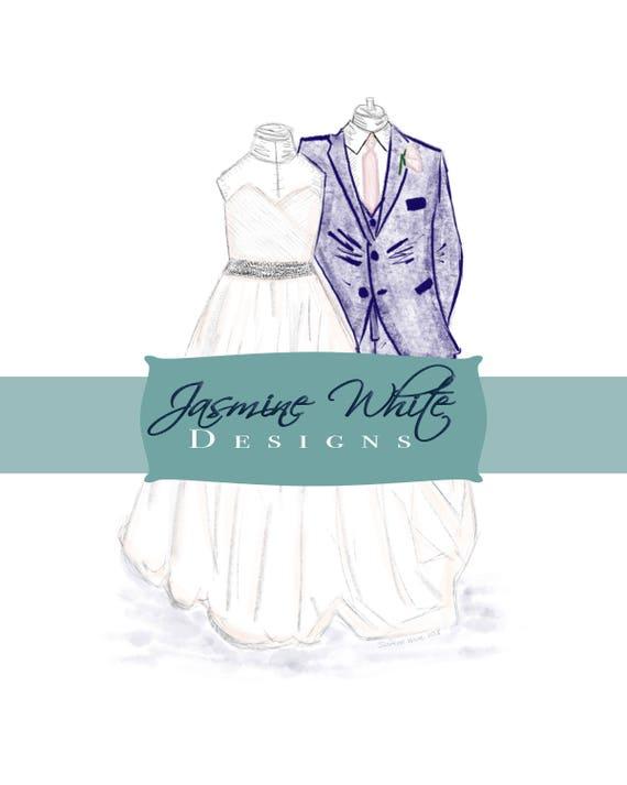 Custom Digital Wedding Dress Designs. Hand drawn wedding