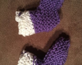 Purple and white baby booties