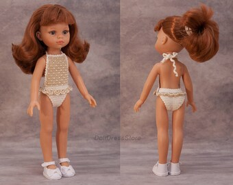Paola Reina swimsuit with seed beads, crochet doll clothes for Corolle les Cheries, Paola Reina, outfit for doll, 13 inch doll clothes.