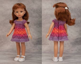 Paola Reina, Knit Cotton Dress for Paola Reina, Antonio Juan Munecas, Corolle Les Cheries, knit clothes for doll, 13 inch doll dress.