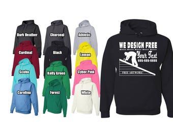 Custom hoodie, personalized hoodie, your logo hoodie, silk screened hoodie,