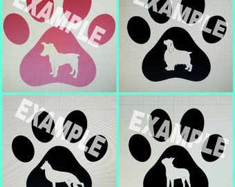 Customized Dog Breed Paw Print