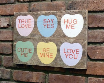 BEST VALENTINE EVER! Cute Necco Heart Sign with Your Favorite Valentine Messages