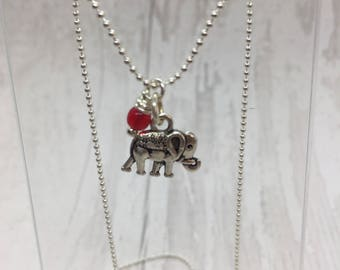 Siver elephant charm, elephant necklace, silver plated necklace, red bead charm, bead necklace